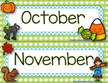 Calendar Headers Green and Blue