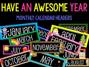 Calendar Headers : Have an Awesome Year : Black
