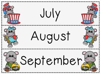 Calendar Headers-Hippos
