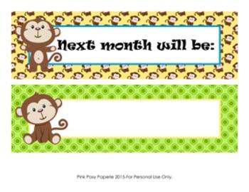 Calendar Headers Monkey Themed