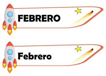 Calendar Headers (Month Labels) - Space Theme [Spanish]