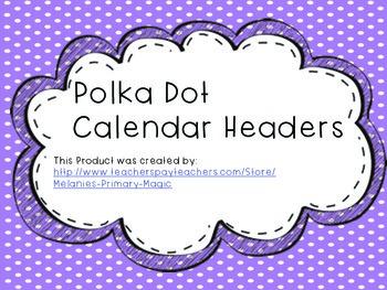Calendar Headers Months of the Year