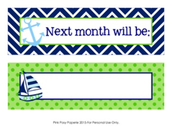 Calendar Headers Nautical Navy and Lime