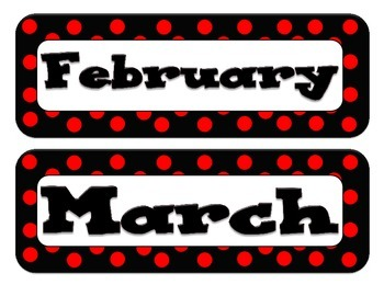 Calendar Headers - Dot Themed - Red and Black
