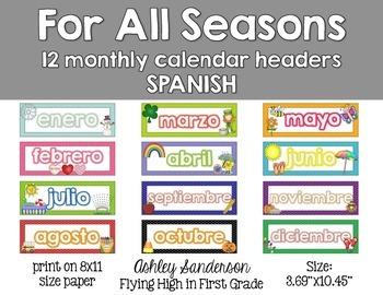 calendar headers spanish by ashley sanderson tpt