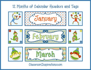 Calendar Headers, Tags and Numbers – Coordinates with Sock Monkey Class Theme