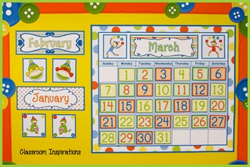 Calendar Headers, Tags and Numbers – Coordinates with Sock