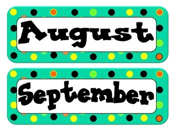 Calendar Headers - Dot Themed - Teal, Orange, Black, Yellow, Lime Green