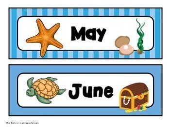 """Calendar Headers (""""Under the Sea"""" Theme)"""