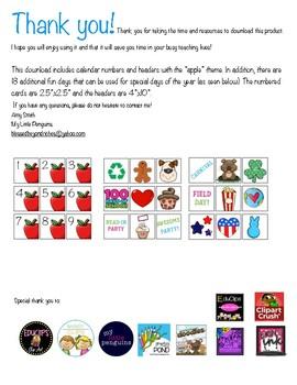 Calendar Headers and Numbers