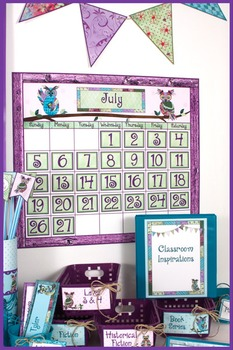 Calendar Headers and Numbers– Coordinates with Book Smart Owls Classroom Theme