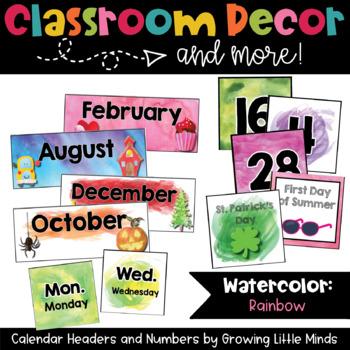 Calendar Headers and Numbers- Rainbow Watercolor