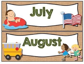 Calendar Headers and Numbers- Shabby Chic Rustic Burlap