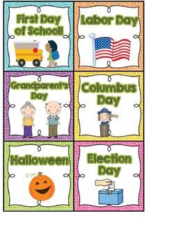 Calendar Headers and Numbers- Shabby Chic Rustic Rainbow Burlap