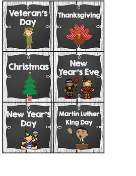 Calendar Headers and Numbers- Shabby Chic Rustic Shiplap Wood Chalkboard Decor