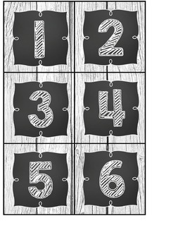 Calendar Headers and Numbers- Shabby Chic Rustic Shiplap Wood Chalkboard Decor