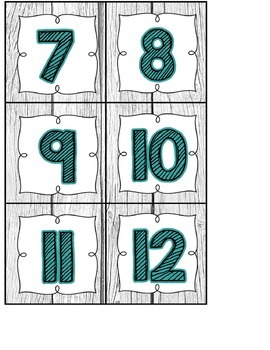 Calendar Headers and Numbers- Shabby Chic Rustic Shiplap Wood Decor