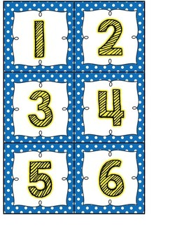 Calendar Headers and Numbers- blue