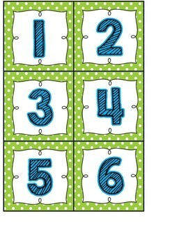 Calendar Headers and Numbers- green