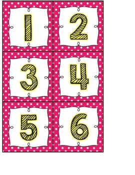 Calendar Headers and Numbers- pink