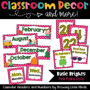 Calendar Headers and Numbers- pink