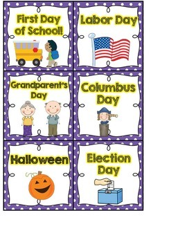 Calendar Headers and Numbers- purple