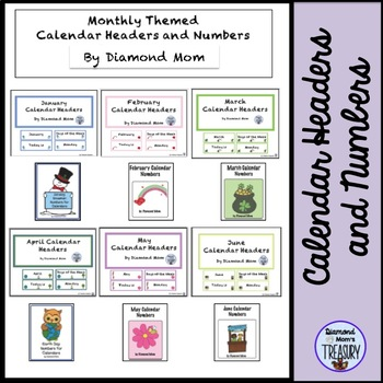 Calendar Headers and Numbers with Monthly Themes