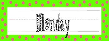 Calendar Headers - days of the week - Lime & Pink