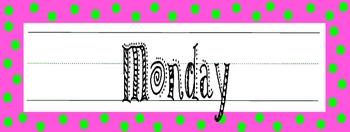 Calendar Headers - days of the week - Pink & Lime