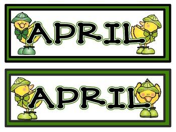 Calendar Headers for: April