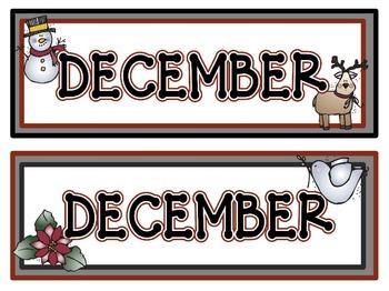 Calendar Headers for: December and January