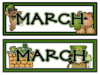 Calendar Headers for: March