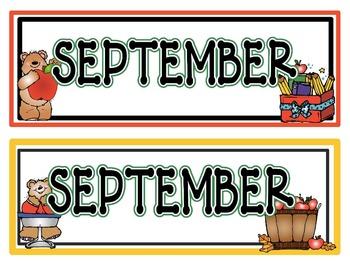 Calendar Headers for: September