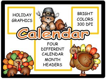 Calendar Headers for: November