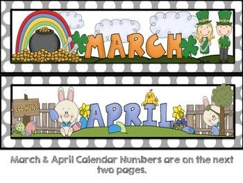 Calendar Headings, Numbers, Days of the Week {Gray Polka Dots}