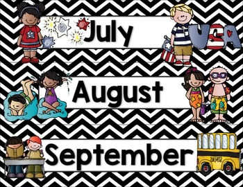 Calendar Helper: Black & White Chevron