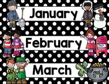 Calendar Helper: Black & White Polka Dots