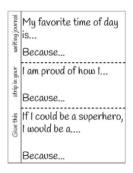 Writing Journal- Glue in and write prompts