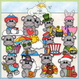 Calendar Hippos Clip Art - Hippopotamus Clip Art - CU Clip