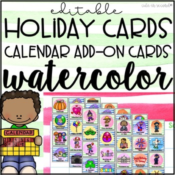 Calendar Holiday Cards Watercolor Theme