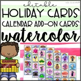 Classroom Calendar Holiday Cards Add-On Pack Watercolor