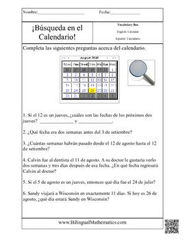 Calendar Hunt - Math Story Problems (English and Spanish)