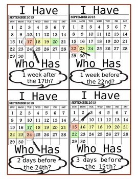 Calendar: I Have, Who Has