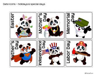 CALENDAR ICONS: Math Center, Panda Theme, Classroom Decor, Red & Black Theme