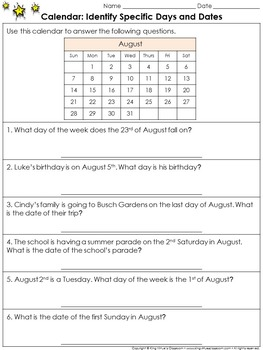Calendar: Identify Specific Days and Dates Practice Sheets - King Virtue