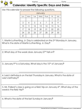 Calendar: Identify Specific Days and Dates Practice Sheets