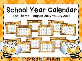 Calendar - Bee Theme - School Year Calendar 2018-19