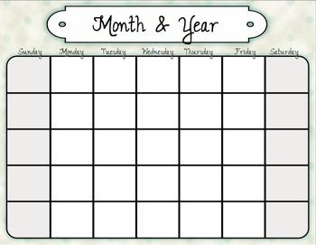 Calendar Inserts: Vintage Garden Theme