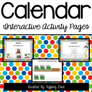Calendar Interactive Activity Binder