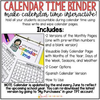 Interactive Calendar Time Binder (with Spanish version)